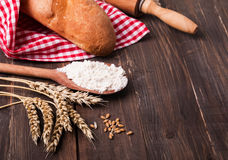 Wheat, flour and bread Stock Photography