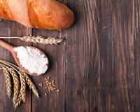 Wheat, flour and bread Royalty Free Stock Photo