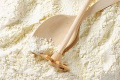 Wheat flour and cooking utensils Royalty Free Stock Photos