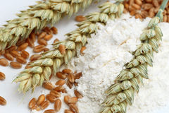 Wheat flour, ears and corns Stock Photo