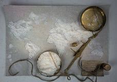 Wheat flour in the form of a world map. Food, scales vintage. top view. overhead horizontal. Stock Photo