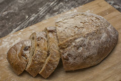 Wheat flour with a fresh  hot bread   and milk. Wheat flour with a fresh  hot bread and milk on the table Royalty Free Stock Image