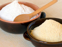 Wheat flour and maize flour Stock Photo