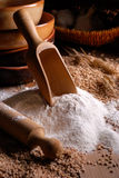 Wheat flour on the table Royalty Free Stock Photography