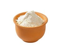 Wheat flour in terracotta dish Royalty Free Stock Images