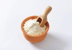 Wheat flour in terracotta dish Royalty Free Stock Photo