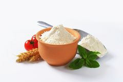 Wheat flour in terracotta dish and metal scoop Stock Images