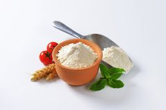 Wheat flour in terracotta dish and metal scoop Stock Image