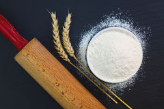 Wheat flour in white cup and organic egg decorate by wheat ear, rolling pin on black slate stone plate with copy space. For preparing baking or pasta Stock Images