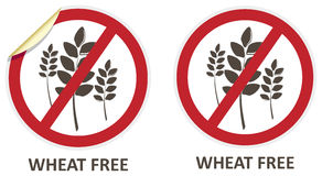 Wheat Free Icons. Wheat free vector stickers and icons for allergen free products Stock Photos