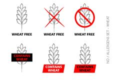 Wheat Free Signs on white background Stock Photo