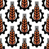 Wheat in gears seamless agriculture pattern Royalty Free Stock Photography
