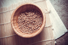 Wheat germs in a bowl. Wheat harvest, photo with copy space Royalty Free Stock Photo