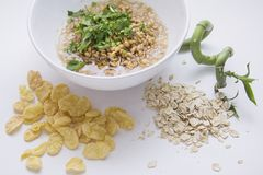 Wheat germs, corn and oat flakes Stock Photo