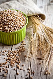 Wheat grain in bowl and ears Stock Photos