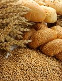 Wheat grain with buns and rolls stock photo