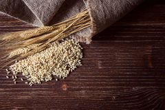 Wheat grain,flour and bread. Stock Photo