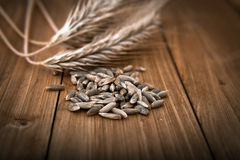 Wheat grain in the wooden table Stock Photography