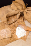 Wheat grains, bran and flour. Royalty Free Stock Photo