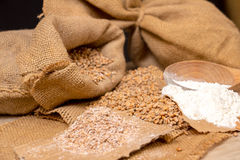 Wheat grains, bran and flour. Stock Photo