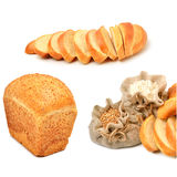 Wheat grains and flour in the cloth sacks and fresh bread pieces. Isolated on white. Collage royalty free stock photo
