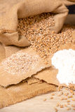 Wheat grains  and flour Royalty Free Stock Photos