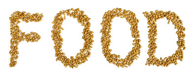 Wheat grains food text Royalty Free Stock Photos