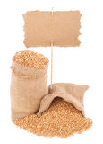 Wheat grains with  price tag Royalty Free Stock Images
