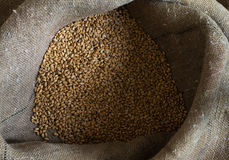 Wheat grains in a sack Royalty Free Stock Image