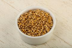 Wheat grains. In the bowl over wooden background Royalty Free Stock Image