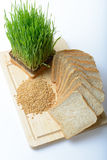 Wheat grass,whole wheat bread and wheat grains Royalty Free Stock Images