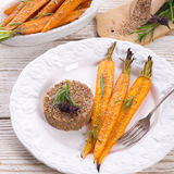 Wheat groats  and Caramelized carrots Stock Image