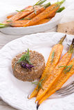 Wheat groats  and Caramelized carrots Royalty Free Stock Photography