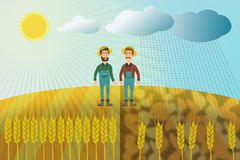 Wheat harvest - two farmers on a wheat field. The concept of good and bad harvest. Sun and rain, weather conditions. Unsuccessful year Royalty Free Stock Photo