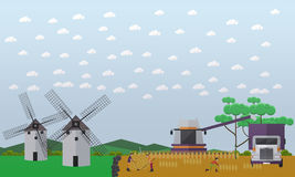 Wheat harvesting concept vector illustration in flat style. Vector illustration of people and agricultural machinery working on field. Two mills, combine Royalty Free Stock Photos