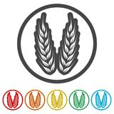 Wheat icon, Wheat ears icon, 6 Colors Included. Simple  icons set Stock Images