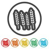 Wheat icon, wheat ears icon, 6 colors included. Simple vector icons set Royalty Free Stock Photo