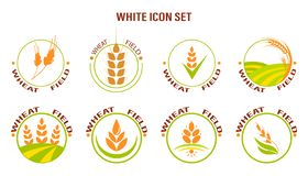Wheat icon set on white background. Vector illustration. Suitable for labels stock illustration
