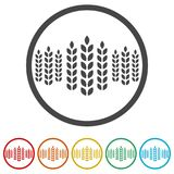 Wheat icon, wheat ears icon, 6 colors included. Simple vector icons set Stock Photo