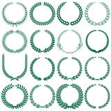 Wheat, laurel, oak and some other tree wreaths set. Sixteen green wreathes isolated on white Stock Images