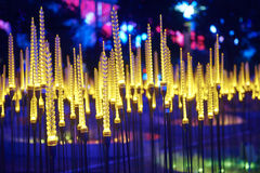 Wheat led lighting. Illuminated city at night ,City nightscape lighting show Stock Photos
