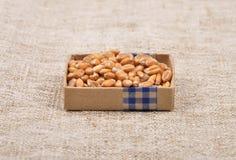 Wheat on linen Stock Photo