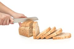 Wheat loaf. Slices of whole wheat loaf Stock Images