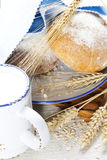 Wheat, milk and bread Royalty Free Stock Image