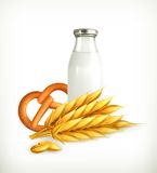 Wheat, milk and bread royalty free illustration