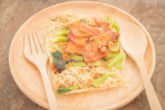 Wheat noodles with barbecued red pork Stock Images