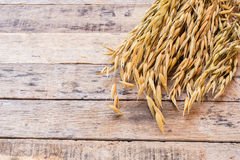 Wheat on the old wooden table background Stock Images