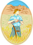 Wheat Organic Farmer Scythe Oval Drawing Stock Images