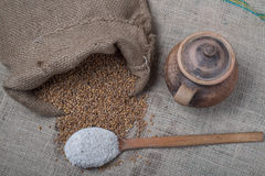 Wheat out of jute. And fluor in wooden spoon Stock Images