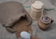 Wheat out of jute with spoon full of flour. Wheat out of jute  and fluor in wooden spoon Stock Image